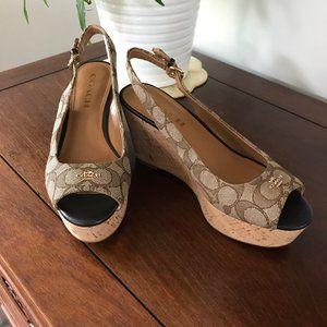 Coach Khaki Ferry Signature Cork Wedge Sandals